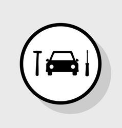 car tire repair service sign  flat black vector image