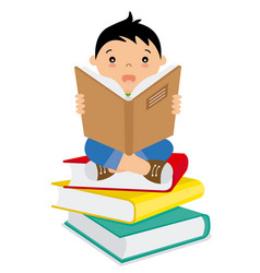 Boy reading over a batch of books vector