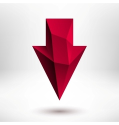 3d Red Down Arrow Sign with Light Background vector image vector image