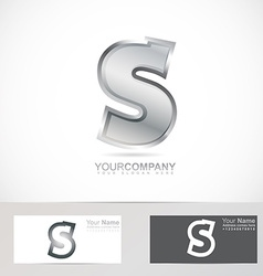 Silver metal letter s logo vector