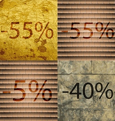 55 5 40 icon set of percent discount on abstract vector