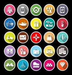 Birthday gift flat icons with long shadow vector