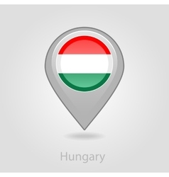 Hungary flag pin map icon vector