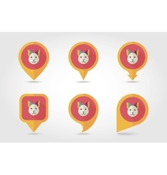 Cat mapping pins icons vector