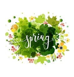 Hand sketched spring text as logotype badge and vector