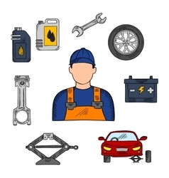 Mechanic and car service icons vector