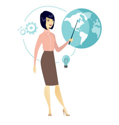 Asian business woman pointing at a globe vector