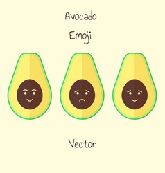 Avocado emoji set in flat style isolated sad and vector