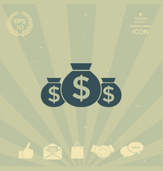 bags of money icon with dollar symbol vector image