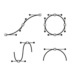 Bezier Curve Icons Set Designer work tools vector image vector image