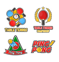 Big ping pong championship isolated colorful vector