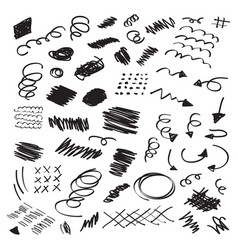 black ink random hand drawn scribbles set vector image vector image