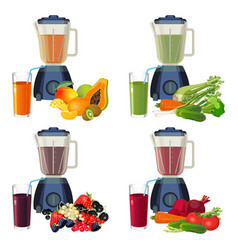 blender and glass of smoothie organic fruits and vector image