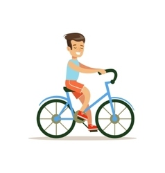 Boy riding bicycle traditional male kid role vector