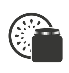 canned fruit in mason jar monochrome silhouette vector image vector image