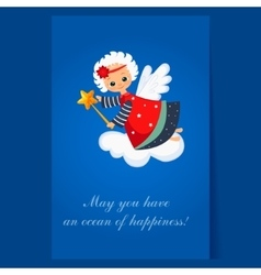 Christmas angel flying with a magic wand winter vector