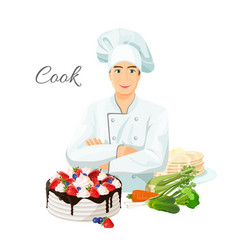 Cook in uniform with delicious cake and fresh vector