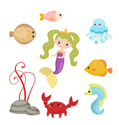 cute girl mermaid cute girl mermaid vector image vector image