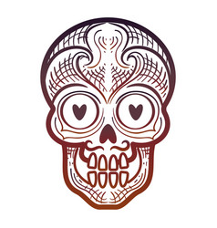 Decorative calavera or skull isolated icon vector