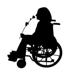 disabled person smelling rose and waiting someone vector image