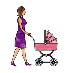 Drawing mother with baby carriage vector