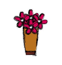 Flower bouquet vase decorative plants cartoon vector
