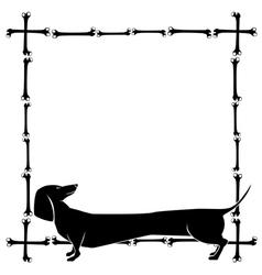 Frame with dachshund vector