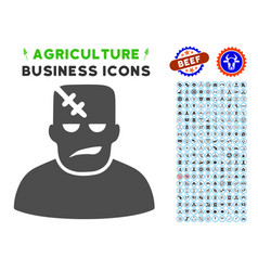 Frankenstein icon with agriculture set vector