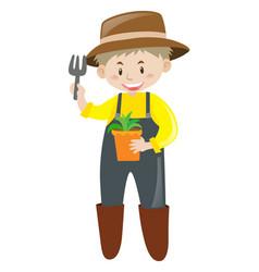 gardener wearing hat and boots vector image vector image
