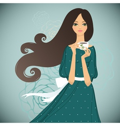 Girl with cup of tea on floral background vector image vector image