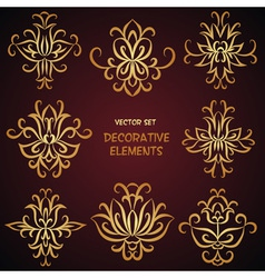 Golden decorative desigh elements vector image vector image