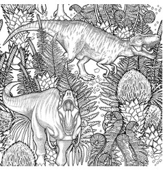 Graphic dinosaur pattern vector