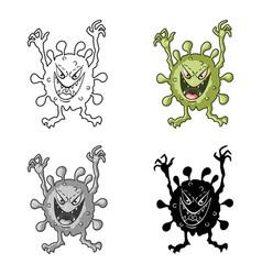 Green virus icon in cartoon style isolated on vector