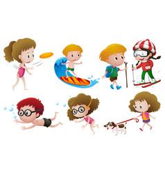 Kids doing different activities vector