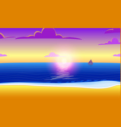 landscape of paradise on the ocean beach with vector image