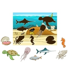 Match the animals and fish to their shadows vector