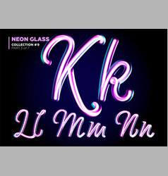 neon glowing 3d typeset font set of glass vector image vector image