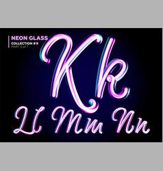 neon glowing 3d typeset font set of glass vector image