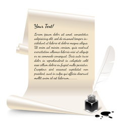 Paper with an inkwell and feather vector image