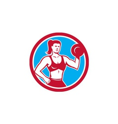 Personal trainer female lifting dumbbell circle vector