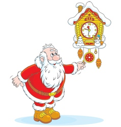 Santa Claus winds a cuckoo-clock vector image