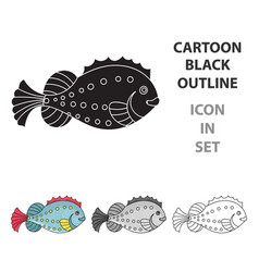 sea fish icon in cartoon style isolated on white vector image vector image