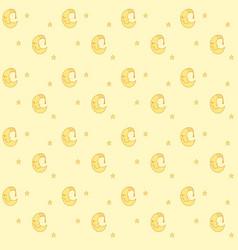 seamless pattern with cartoon sleeping moon in vector image
