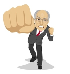 Senior angry business man punching to front vector