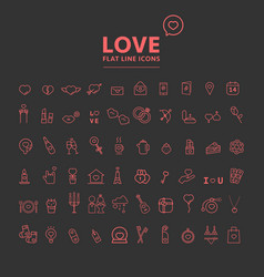 Set of valentines day objects and icon vector