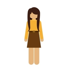 silhouette woman with skirt and belt vector image