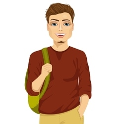 Smiling male student with a backpack vector image vector image