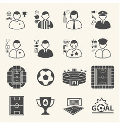Staff and people in soccer championship icons vector