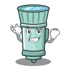 Successful flashlight cartoon character style vector