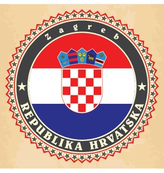 Vintage label cards of Croatia flag vector image vector image